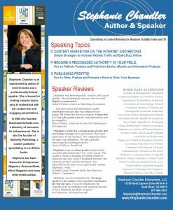 Stephanie Chandler - Professional Speaker Sheet
