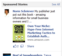 amazon sponsoring book ads on Facebook