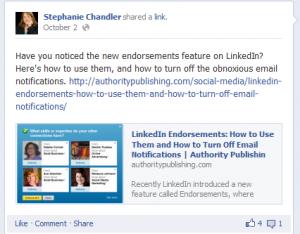 Example of blog post photos on Facebook - Social Media